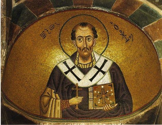 St. John Chrysostom. Mosaic, Monastery Hosios Loukas, Greece