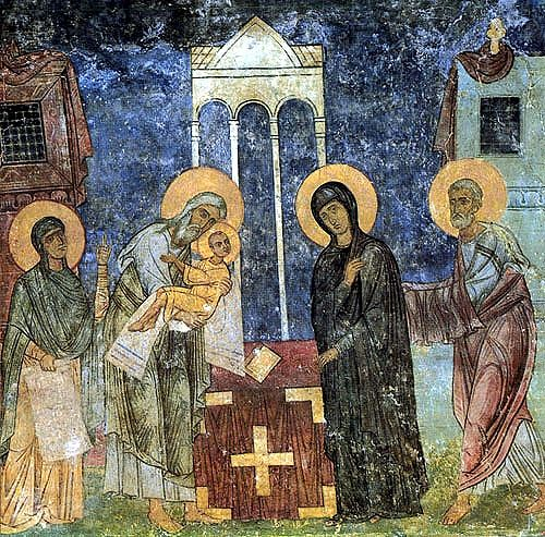 Fresco from Holy Transfiguration Cathedral at Mirozh Monastery. C. 1156. Pskov.
