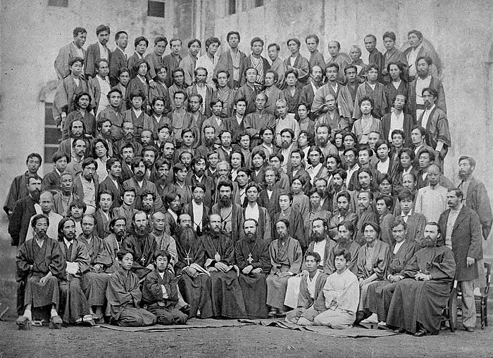 Group photo of participants in the Pan-Japanese Orthodox Council 1882. Holy Equal-to-the-Apostles Nicholas of Japan sits in the center.