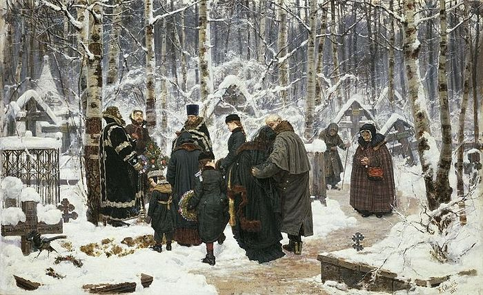Pannikhida on the 9th day, in the cemetery. Konstantine Savitsky, 1885. (Widipedia).