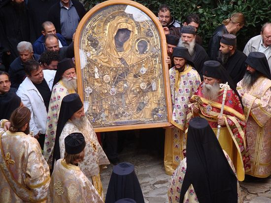 "Dochariou Monastery's miraculous ""She Who is Quick to Hear"" Icon. Photo: AgionOros.ru"