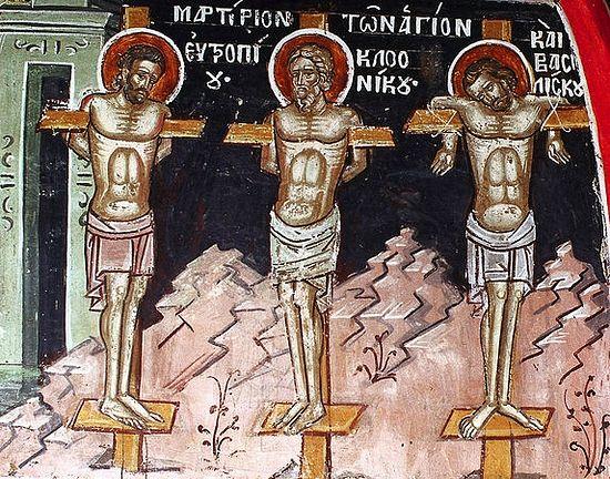Martyrs Eutropius and Cleonicus of Amasea, and Basiliscus of Comana. Photo: Days.Pravoslavie.Ru