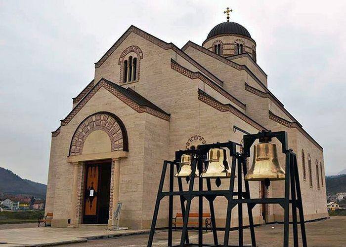 Вишеград - црквена звона испред Храма светог цара Лазара. Фото: СРНА