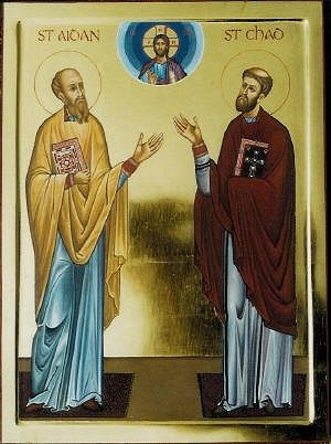 An icon of Sts. Aidan and Chad (by Aidan Hart)
