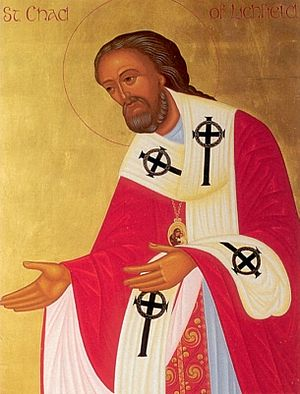 An Orthodox icon of St. Chad of Lichfield