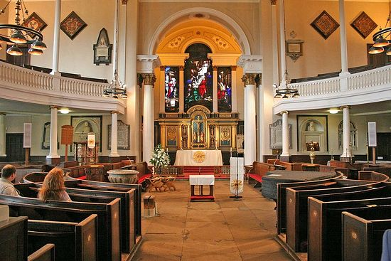 Interior of St. Chad's Church in Shrewsbury, Shropshire