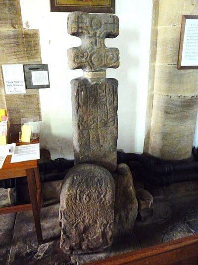 Stone preaching cross inside St. Chad's Church, Middlesmoor (source - 'Church in the Dale' website)
