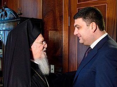 Премьер-министр Украины съездил к Патриарху Варфоломею за «объединенной Церковью»