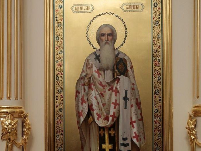 Икона сщмч. Евгения Евгения Херсонесского в надвратном храме Богородице-рождественского монастыря в Москве.