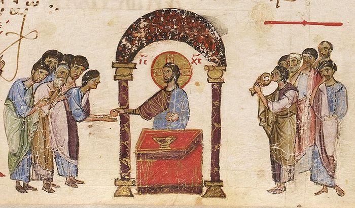Причащение апостолов. Византийская миниатюра
