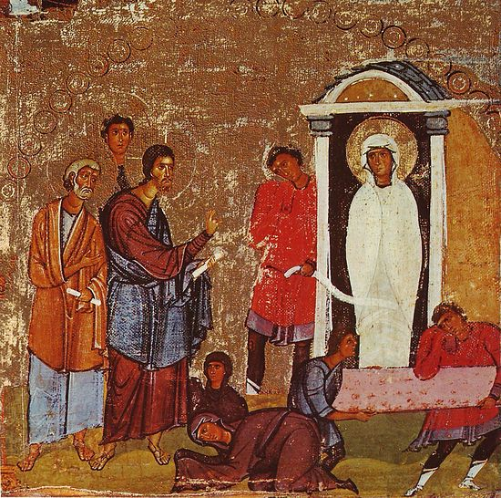 Lazarus' resurrection. Saint Catherine's Monastery, Sinai (Egypt). Photo: Wikipedia