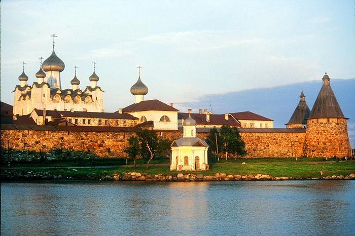 Solovetsky Transfiguration Monastery, northwest view from harbor pier. July 25, 1998. / Photo: William Brumfield