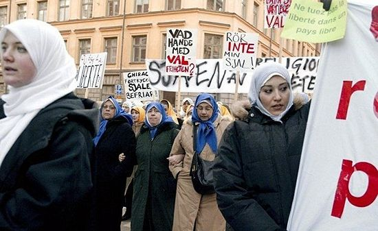 Protest by Muslims against a bill to ban the wearing of the hijab in French schools, Stockholm. Photo: Inosmi.ru