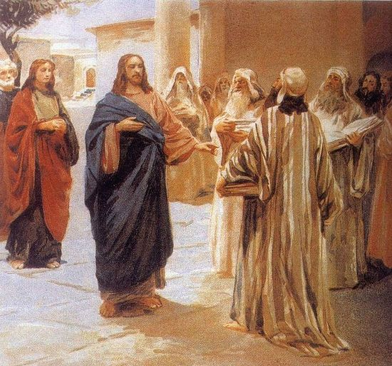 Jesus Talks with the Pharisees. K Lebedev. Photo: /biblia-zhivopis.ru