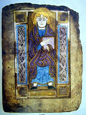 Saint John, evangelist portrait from the Book of Mulling, Irish, late 8th century