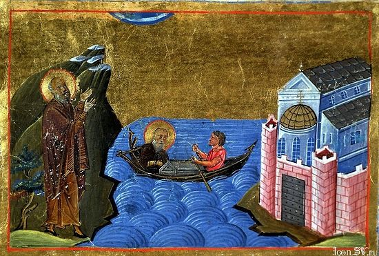 Byzantine miniature depicting the Stoudios Monastery and the Propontis (Sea of Marmara), from the Menologion of Basil II (c. 1000). Photo: Wikipedia