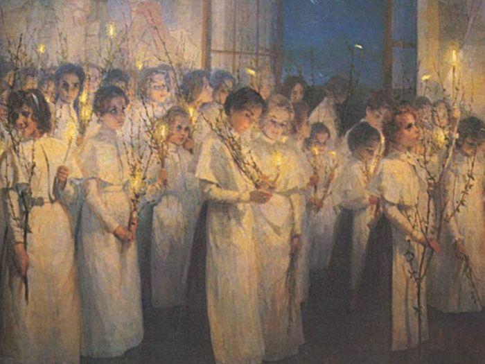 С. Блонская. «Девочки. Вербное воскресенье», 1900.