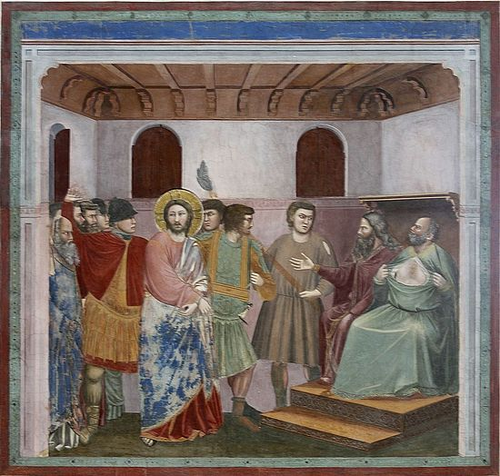 """Christ before Caiaphas"". The High Priest is depicted tearing his robe in grief at Jesus' perceived blasphemy (Giotto, Life of Christ, Scrovegni Chapel, Padua). Photo: Wikipedia"