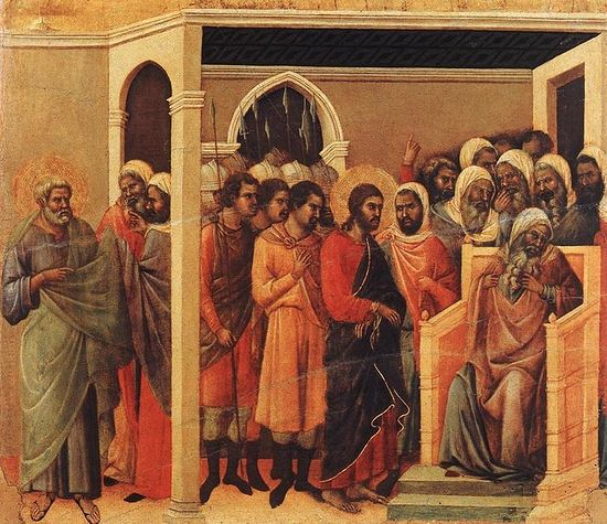 Duccio Di Buoninsegna. Christ Before Caiaphas. 1308-11