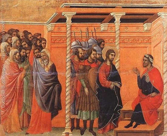 Duccio Di Buoninsegna. Pilate's First Interrogation of Christ.1308-11. Photo: ducciodibuoninsegna.org