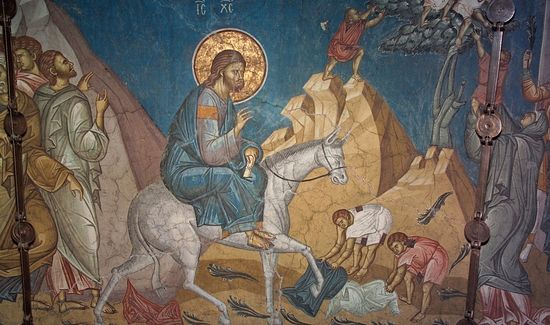 Вход Господень в Иерусалим. Фреска. Монастырь Високи Дечани. Косово. Сербия.