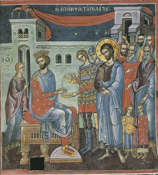 Christ on Trial by Pilate. Greece, 16th C. Mt. Athos. Dionysiou Monastery.
