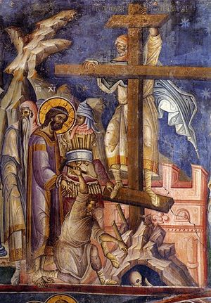 Holy and Great Friday. Ascending the Cross. Early 14th c. Vatopedia Monastery, Mt. Athos.
