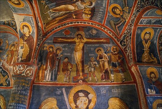 Holy and Great Friday. The Crucifixion. Cave church, Cappadocia. 11th c.