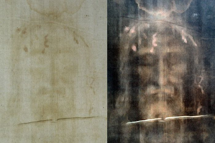 The Shroud of Turin: modern photo of the face, positive left, digitally processed image right