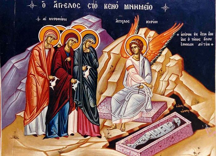 The Holy Myrrhbearers beholding the Angel at the Life-giving, empty Tomb of Christ after His Resurrectio