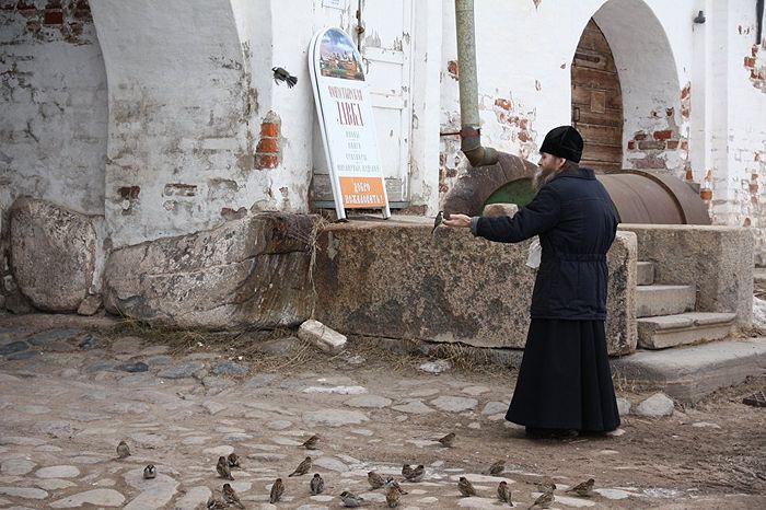 Монах Соловецкого монастыря кормит птиц на подворье. Фото: Александр Кудрявцев