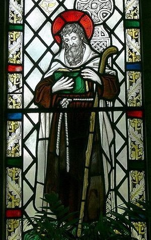 A stained glass image of St. Brynach (source - Wolfgang Sauber)
