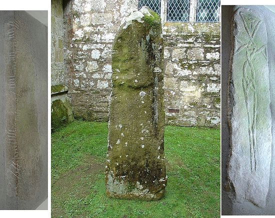 Left to right - Maglocunus Stone, Vitalianus Stone and Braided Stone Cross in Nevern