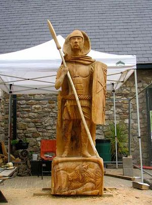St. Derfel Gadarn's sculpture by David Lloyd (source - Behance.net)