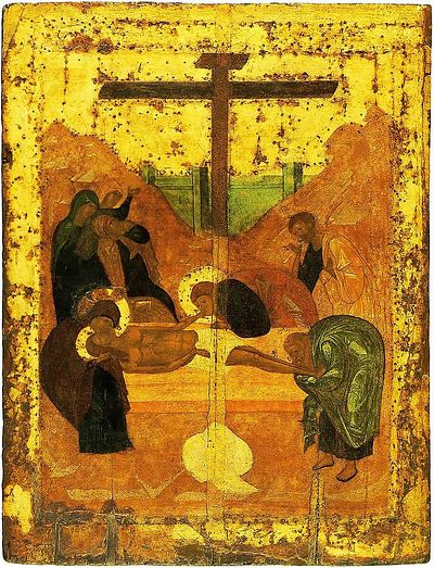 """The Placing in the Tomb,"" icon studio of A. Rublev (near the tomb is seen the folded shroud)"