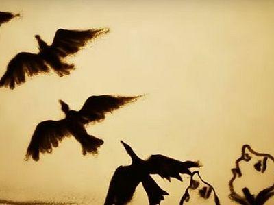 Песочная анимация Ксении Симоновой в память о Чернобыле