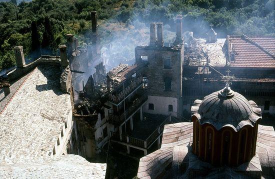 Fire at Karakallou Monastery. Photo: holymountain.omeka.net
