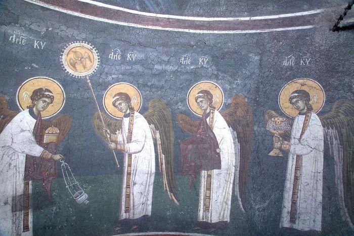 Небесная Литургия. Фреска. Монастырь Грачааница (Сербия).