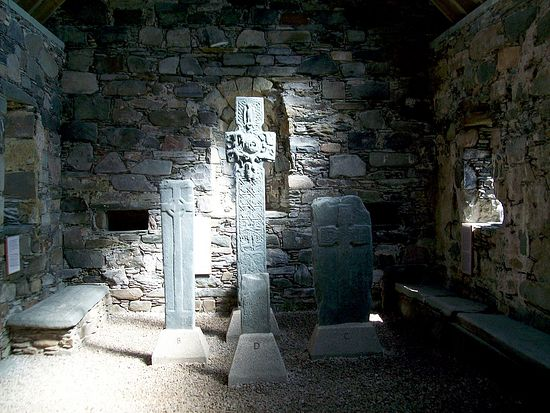 Inside Keills Chapel, Knapdale, Argyll and Bute