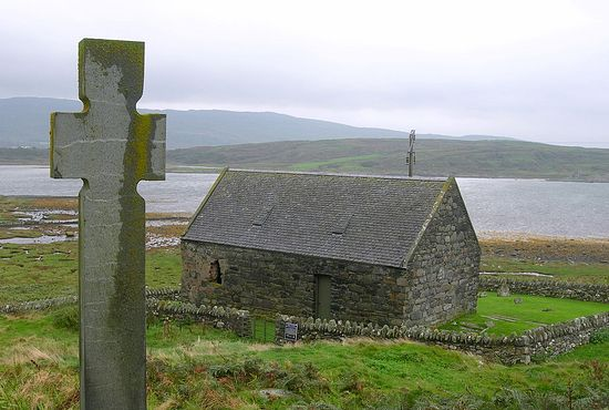 Keills Chapel with Celtic cross, Knapdale, Argyll and Bute