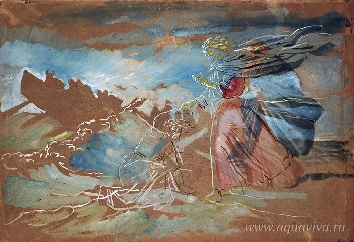 Александр Иванов. Хождение по водам (Христос спасает начавшего тонуть Петра). 1850-е годы. Третьяковская галерея