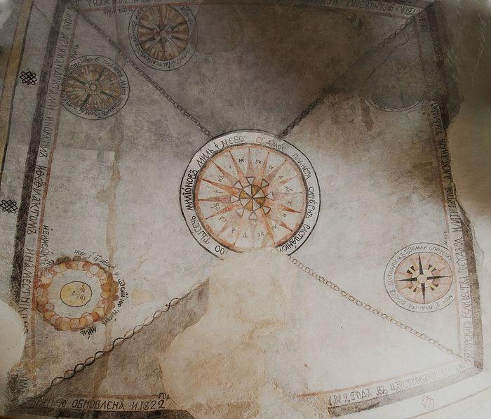 Фреска из братского корпуса Боровского монастыря с изображением геоцентрической модели вселенной, близкой теории Птоломея