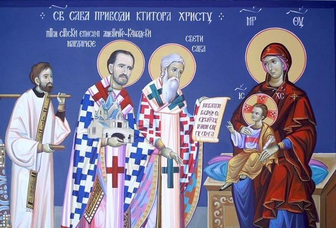 St. Mardarije, being led by the hand by St. Sava to offer the monastery in Libertyville to the Lord. Photo: miloje.org