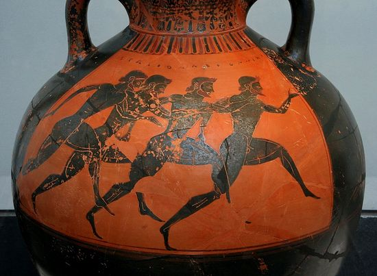 Greek vase with runners at the panathenaic games, ca. 530 BC. Photo: Wikipedia