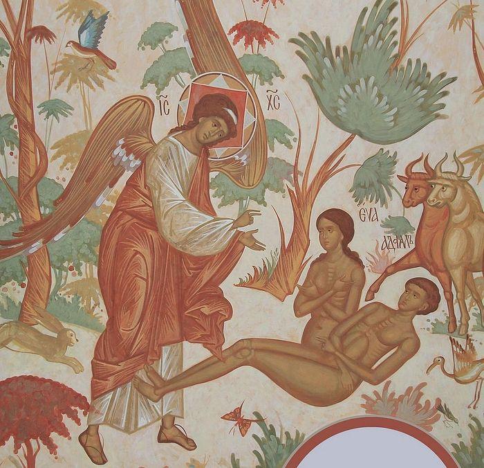 Сотворение мира. Сотворение человека. Храм Рождества Богородицы в Костино