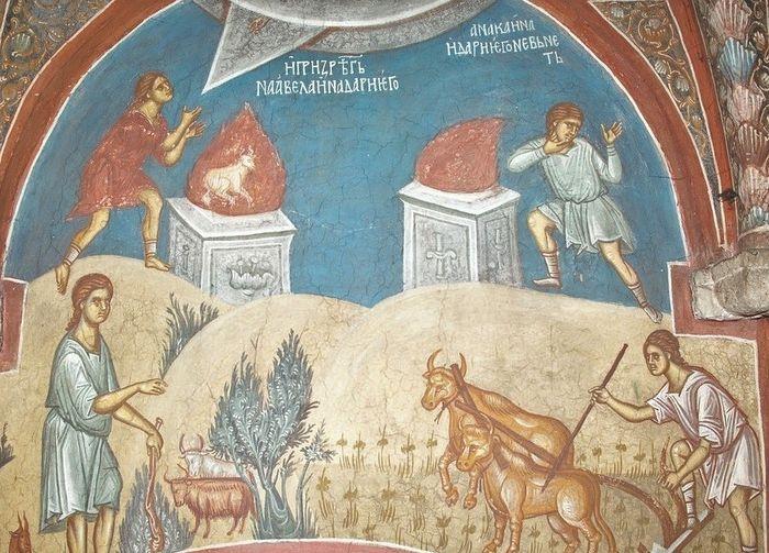 Жертвоприношение Каина и Авеля. Монастырь Высокие Дечаны, Сербия