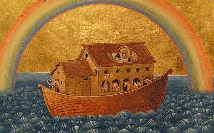 Ноев ковчег. Фреска Никольского православного храма в Амстердаме