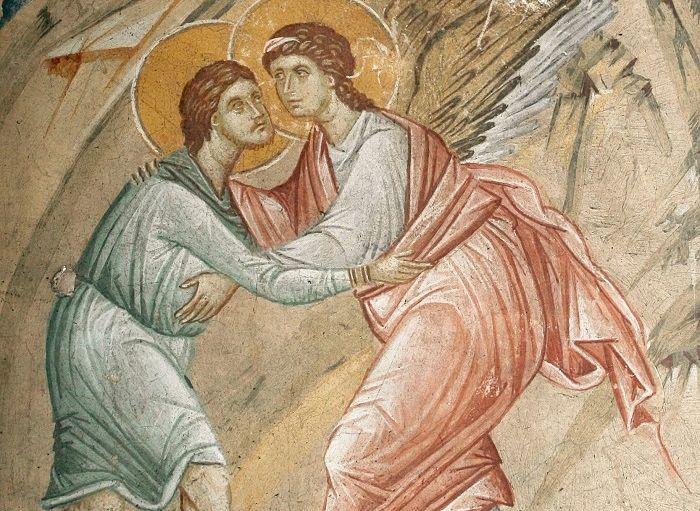 Борьба Иакова с Ангелом. Монастырь Высокие Дечаны, Сербия