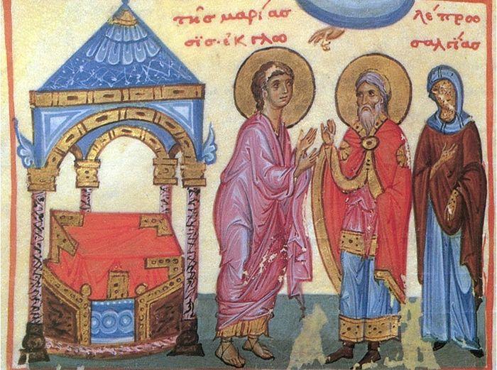 Молитва Моисея об исцелении Мариам от проказы. Византийская миниатюра