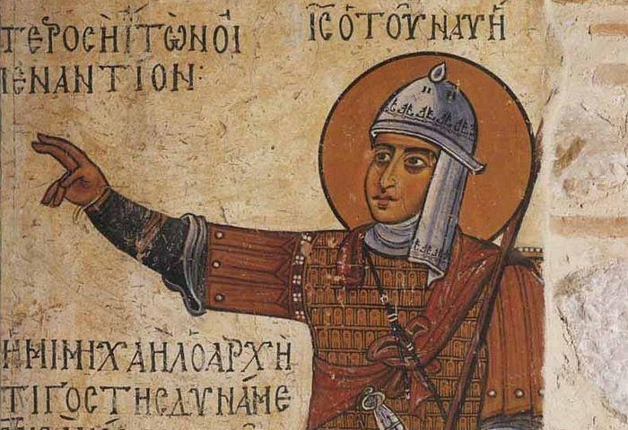 Святой Праведный Иисус Навин. Фреска XI века в монастыре Осиос Лукас (Преподобного Луки), Греция